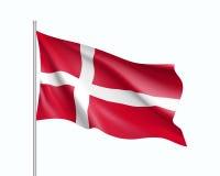 Vinkande flagga av den Danmark staten Royaltyfri Fotografi