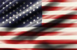 Vinkande flagga av den eniga staten av Amerika arkivfoto