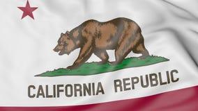Vinkande flagga av den Kalifornien staten framförande 3d Royaltyfri Bild