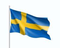 Vinkande flagga av den Sverige staten Arkivfoto