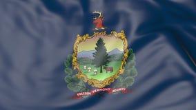 Vinkande flagga av den Vermont staten framförande 3d Royaltyfria Bilder