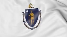 Vinkande flagga av det Massachusetts tillståndet framförande 3d Royaltyfria Bilder