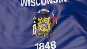 Vinkande flagga av det Wisconsin tillståndet framförande 3d Royaltyfria Bilder