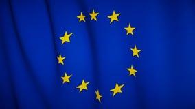 Vinkande flagga av Europa stock video