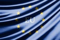 Vinkande flagga av europeisk union Fotografering för Bildbyråer