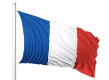 Vinkande flagga av Frankrike på flaggstång Royaltyfria Foton