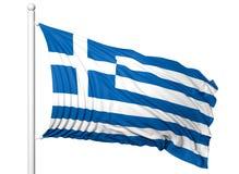 Vinkande flagga av Grekland på flaggstång Royaltyfri Bild