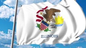 Vinkande flagga av Illinois royaltyfri illustrationer