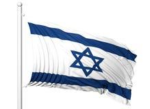 Vinkande flagga av Israel på flaggstång Arkivbilder