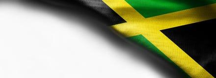 Vinkande flagga av Jamaica, Central America på vit bakgrund Fotografering för Bildbyråer