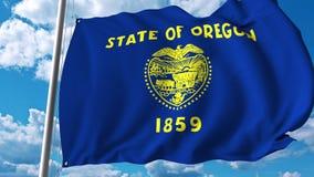 Vinkande flagga av Oregon vektor illustrationer