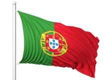 Vinkande flagga av Portugal på flaggstång Arkivbilder