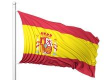 Vinkande flagga av Spanien på flaggstång Fotografering för Bildbyråer