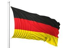 Vinkande flagga av Tyskland på flaggstång Royaltyfri Fotografi