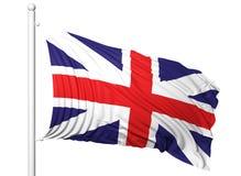 Vinkande flagga av UK på flaggstång Royaltyfri Bild