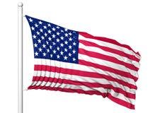 Vinkande flagga av USA på flaggstång Arkivbild