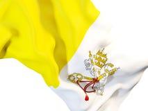 Vinkande flagga av Vatican City Royaltyfri Fotografi