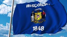 Vinkande flagga av Wiskonsin stock illustrationer