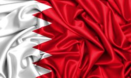 vinkande flagga 3d av Bahrain i vinden royaltyfri illustrationer