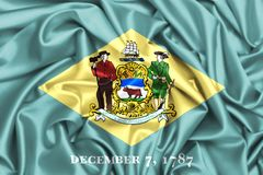 vinkande flagga 3d av Delaware stock illustrationer