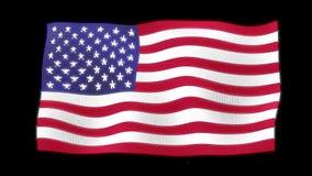 Vinkande flagga 3d av svart bakgrund för Förenta staterna arkivfilmer