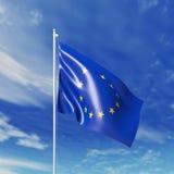Vinkande flagga för europeiska unioner Royaltyfria Bilder