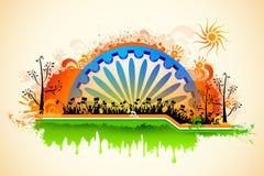 Vinkande flagga för indisk medborgare på tricolor flagga Royaltyfri Bild