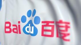 Vinkande flagga med Baidu, Inc logo närbild Redaktörs- loopable animering 3D stock video