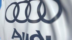 Vinkande flagga med den Audi logoen, närbild Redaktörs- loopable animering 3D stock video