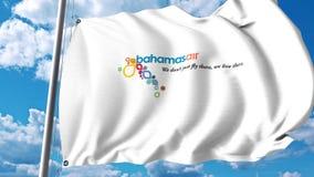Vinkande flagga med den Bahamasair logoen framförande 3d Royaltyfri Bild