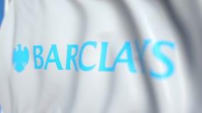 Vinkande flagga med den Barclays logoen, närbild Redaktörs- loopable animering 3D arkivfilmer