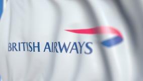Vinkande flagga med den British Airways logoen, närbild Redaktörs- loopable animering 3D stock video