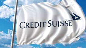 Vinkande flagga med den Credit Suisse logoen mot himmel och moln Redaktörs- tolkning 3D Royaltyfri Foto