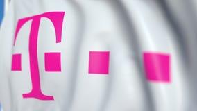 Vinkande flagga med den Deutsche Telekom AG logoen, närbild Redaktörs- loopable animering 3D royaltyfri illustrationer