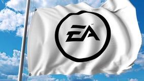 Vinkande flagga med den Electronic Arts logoen Editoial 3D tolkning Arkivbilder