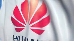 Vinkande flagga med den Huawei logoen, närbild Redaktörs- loopable animering 3D lager videofilmer