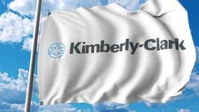 Vinkande flagga med den Kimberly Clark logoen Editoial 3D tolkning royaltyfri illustrationer