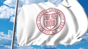 Vinkande flagga med det Cornell University emblemet redaktörs- gem 4K arkivfilmer
