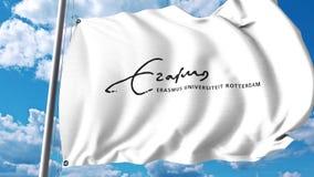 Vinkande flagga med det Erasmus University Rotterdam emblemet redaktörs- gem 4K stock video