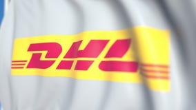 Vinkande flagga med DHL den internationella GmbH logoen, närbild Redaktörs- loopable animering 3D royaltyfri illustrationer