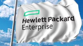 Vinkande flagga med Hewlett Packard företaglogo Editoial 3D tolkning stock illustrationer