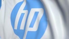 Vinkande flagga med HP Inc logo närbild Redaktörs- loopable animering 3D stock video