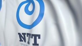 Vinkande flagga med logoen för NTT för Nippon telegraf- och telefonkorporation, närbild Redaktörs- loopable animering 3D royaltyfri illustrationer