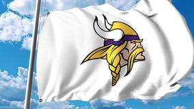 Vinkande flagga med yrkesmässig laglogo för Minnesota Vikings redaktörs- gem 4K lager videofilmer