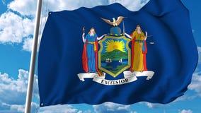 Vinkande flagga staten av New York framförande 3d Fotografering för Bildbyråer