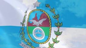 Vinkande flaggaanimering för Closeup av Rio de Janeiro stock illustrationer