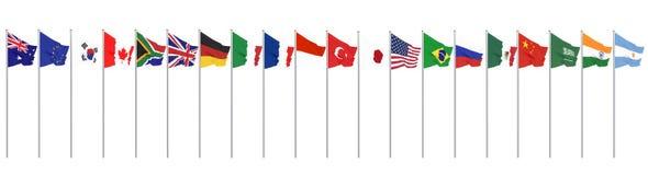 Vinkande flaggaländer av medlemgruppen av tjugo Stor G20 i Japan i 2020 Isolerat p? vit framf?rande 3d illustration royaltyfri illustrationer