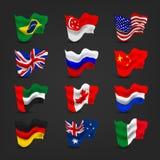 Vinkande flaggauppsättningar för värld Royaltyfria Bilder