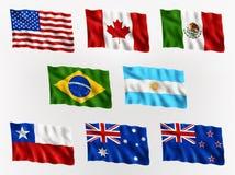 Vinkande flaggor av Americas och Australien royaltyfri illustrationer