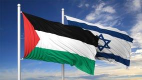 Vinkande flaggor av Israel och Palestina på flaggstång Royaltyfria Bilder